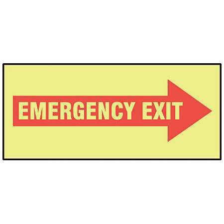 """Emergency Exit Sign, Accuform Signs, MLEX526GF, 3-1/2""""Hx10""""W"""