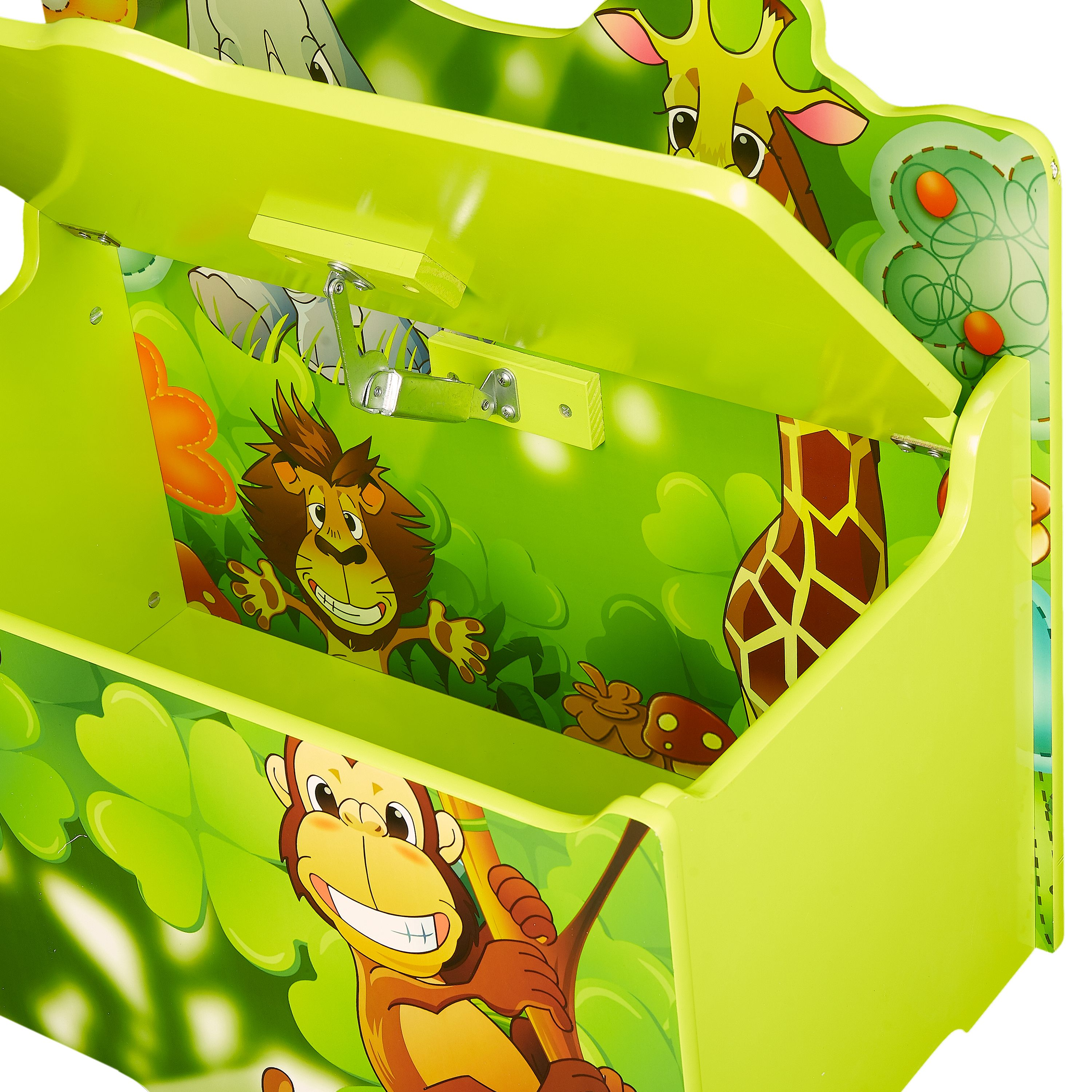 senda kid's jungle wooden storage toy box with lid - walmart