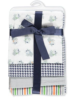 Luvable Friends Baby Boy and Girl Flannel Receiving Blanket, 4-Pack - Boy Dog