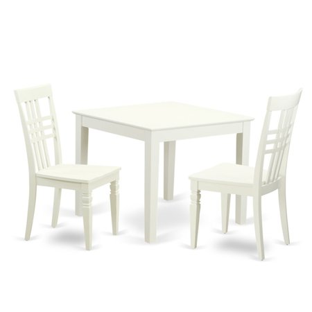 East West Furniture 3 Piece Triple Crossback Breakfast Nook Dining Table Set