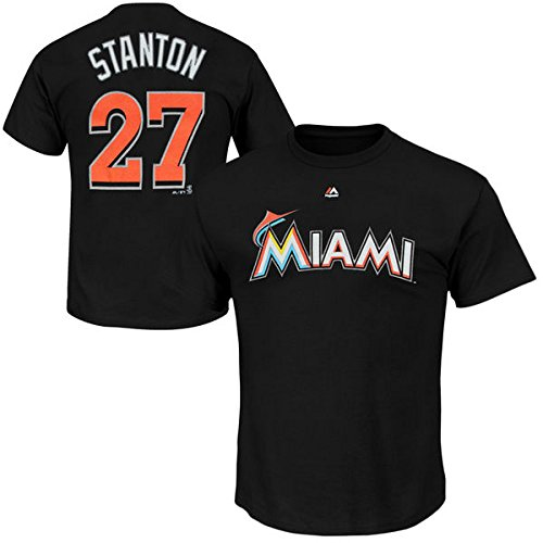 Giancarlo Stanton Miami Marlins #27 MLB Men's Player Name & Number T-Shirt Black (4XL)