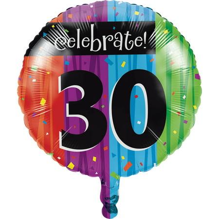30th Birthday Balloons (Milestone Celebrations 30th Birthday Mylar Balloon,)