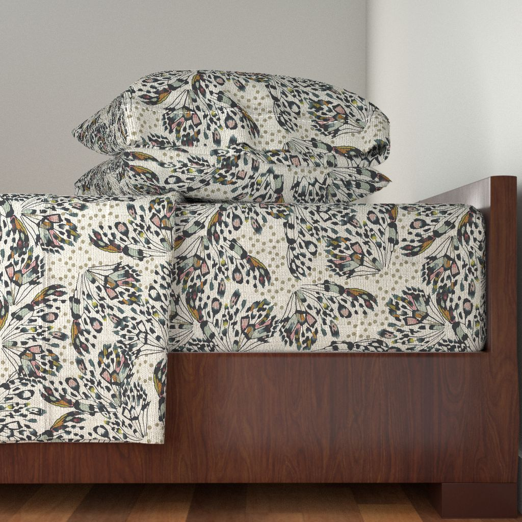 Butterfly Butterflies Wings Leopard 100% Cotton Sateen Sheet Set by Roostery