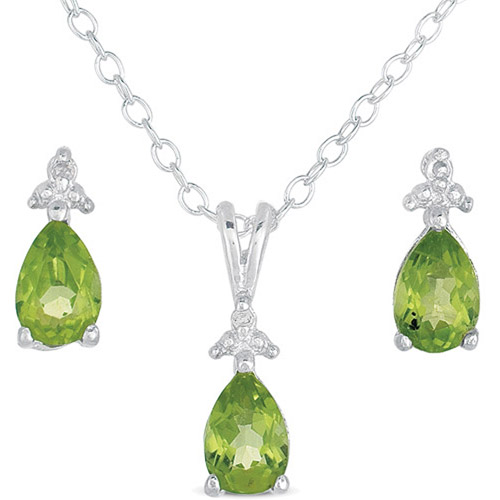 .015 T.G.W. Peridot and Diamond-Accent Sterling Silver Stud Earrings and Pendant, 18""