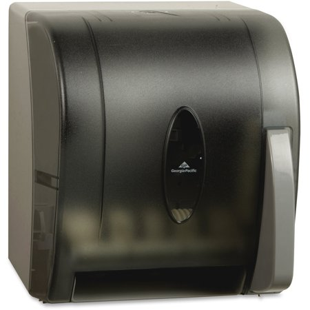 Kraft Paper Dispenser - Georgia-Pacific Hygienic Push Paddle Roll Towel Dispenser, Translucent Smoke, 54338