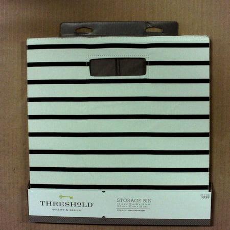 Fabric Cube Storage Bin (13) - Threshold (White Navy Stripe)