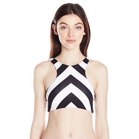 Rip Curl Women's Le Surf Reversible High Neck Bikini Top, Black, SZ: XL