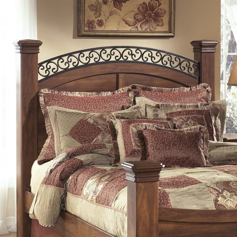 Ashley Timberline Wood King Poster Panel Headboard in Warm Brown by Ashley Furniture