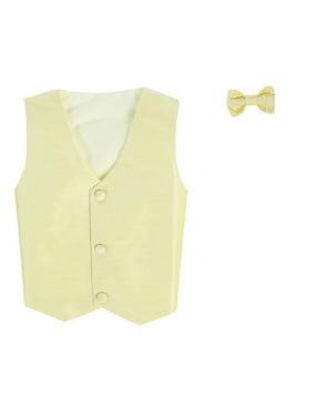 Vest and Clip On Boy Bowtie set - BLACK PAISLEY - 4/5