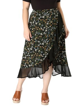 39dc0e986 Product Image Unique Bargains Women's Plus Size Floral Wrap Skirt Black ( Size ...