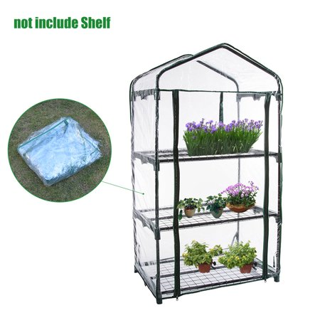 50x27x13in 3-Tier Mini Greenhouse Cover and Roll-Up Zipper Door - Green