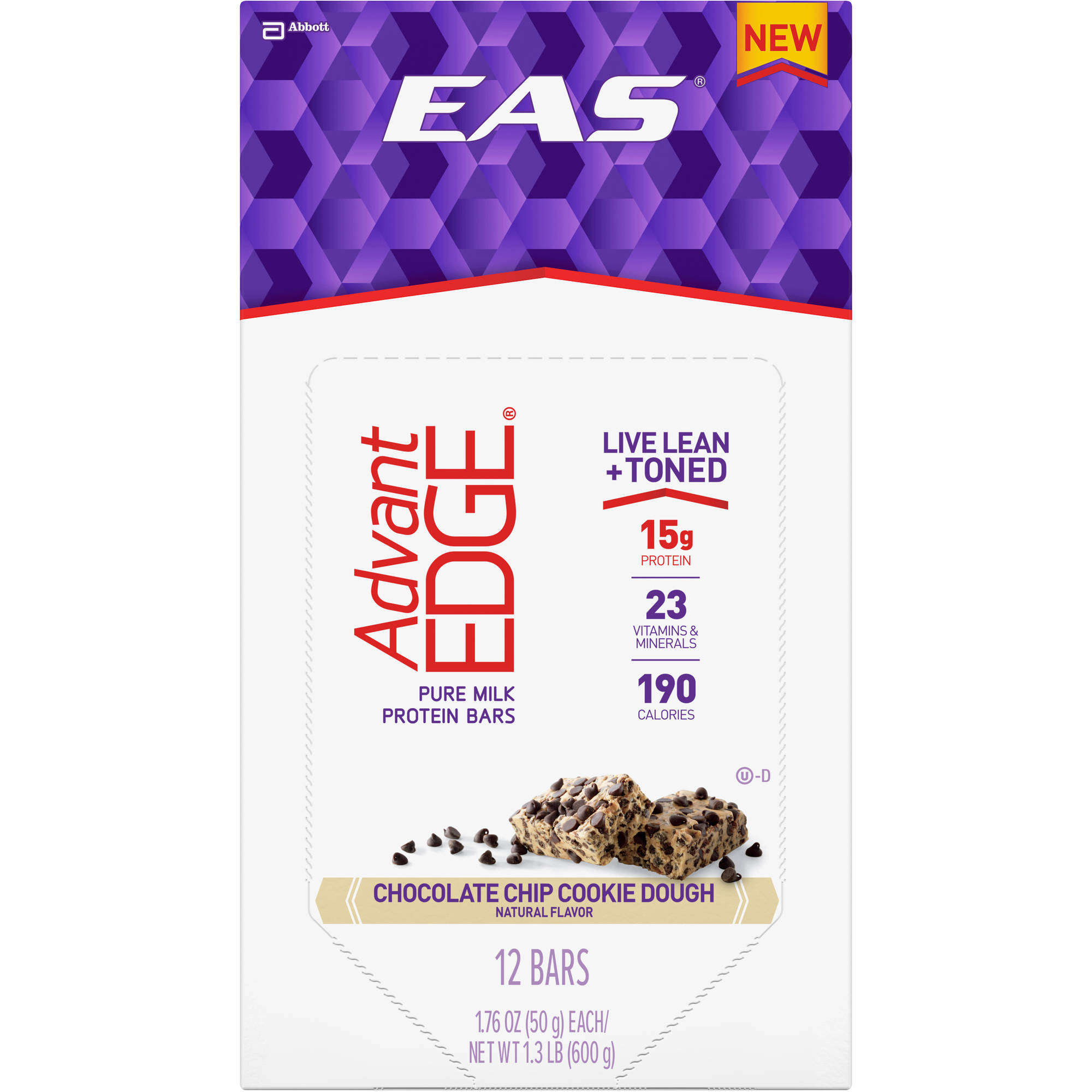 EAS AdvantEDGE Milk Protein Bars, Chocolate Chip Cookie Dough, 1.76 oz (3-12 Packs) by