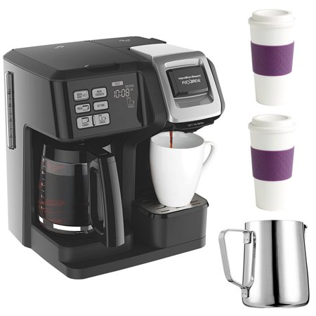 Hamilton Beach FlexBrew 2-Way Brewer Programmable Coffee Maker - Black (49976) w/ 2x 16-Ounce Capacity Acadia Reusable To Go Mug (Plum) & 12 oz. Stainless Steel Milk Frothing - Froth Maker