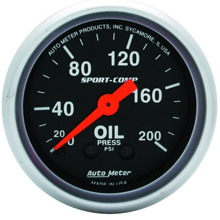 AutoMeter 3322 Sport-Comp Mechanical Oil Pressure Gauge; 2-1/16 in.; Black Dial Face; Fluorescent Red Pointer; White Incandescent Lighting; Mechanical; 0-200 PSI;