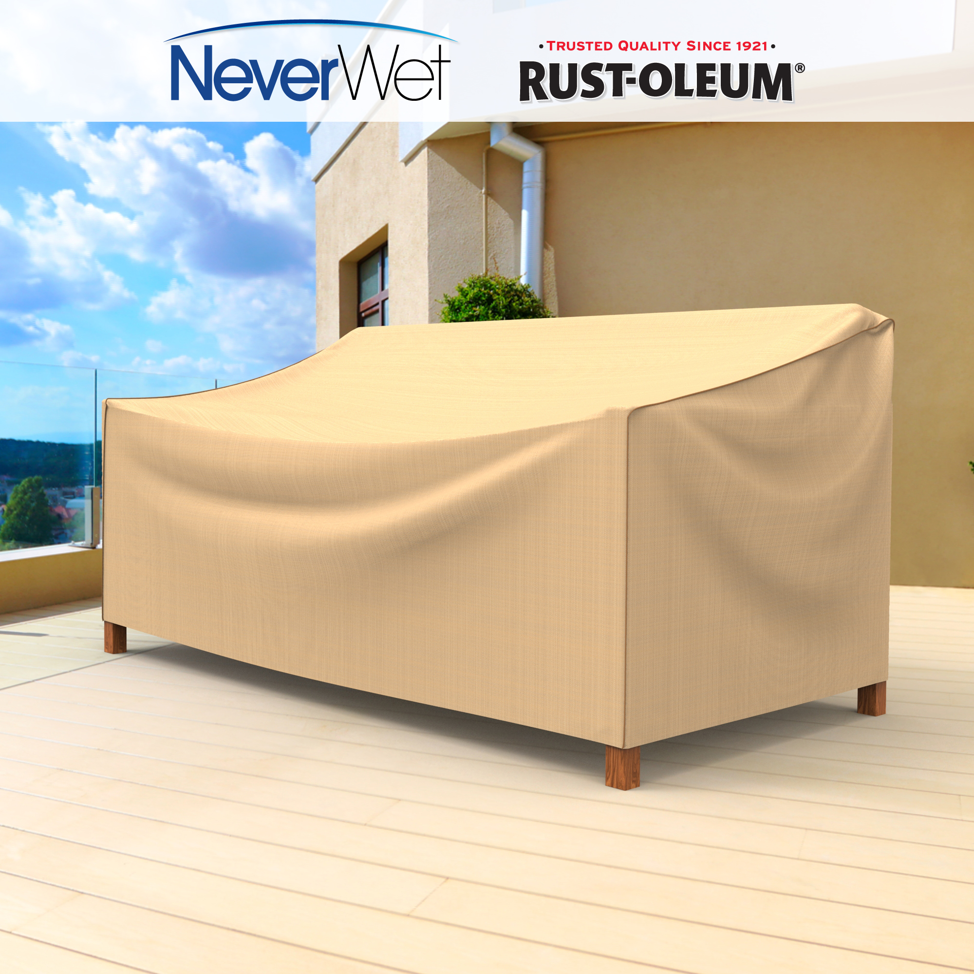 "Budge Large 79""W 41""Deep Tan Patio Sofa Cover, NeverWet®"