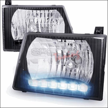 Spec-D Tuning LH-ECON92JM-RS Euro Headlight Black Housing with LED for 92 to 06 Ford Econoline, 10 x 14 x 14 in.