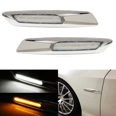 Chrome Side Marker Light (iJDMTOY BMW F10 Style White/Amber Switchback LED Light Chrome Finish Side Marker Lamps For BMW E90 E92 E60 1 3 5 Series X1)