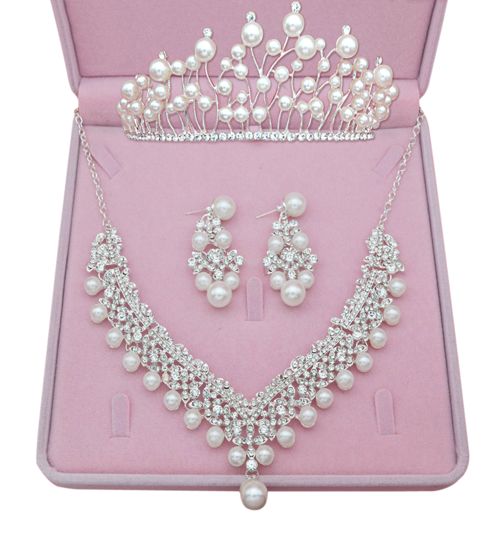Bridal Wedding Jewelry Set, Coxeer Crystal Pearls Tiara with Rhinestones Dangle Earrings Necklace with Gift Box for Women Ladies