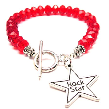 Crystal Star Charm Bracelet - Chubby Chico Charms Rock Star Crystal Toggle Bracelet in Crimson Red