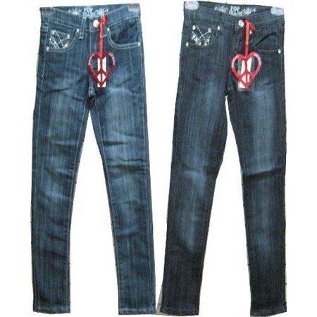 South Embroidered Jean (Girls Sizes 7/8/10/12/14 Stretchable Denim 5 Pockets Embroidered Jeans. Skinny Cut. * 2 Units Pack *)