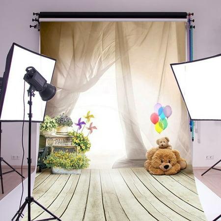 3x5FT Ballon Bear Kids Children Wooden Floor Backdrop Photography Background Vinyl Fabric Photo Studio Props Children's Day ()
