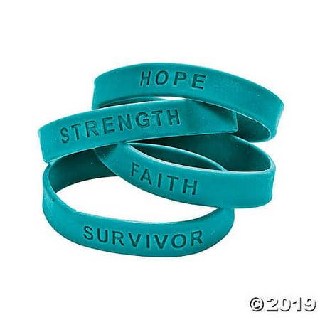 24 TEAL SILICONE CANCER AWARENESS BRACELETS (Receive 24 Per (Order Silicone Bracelets)