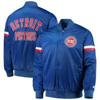 Detroit Pistons Starter The Champ Varsity Satin Jacket - Royal