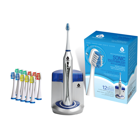Pursonic Sonic Toothbrush with UV Function with Bonus 12 Brush Heads 10 Flexcare Sonic Toothbrush