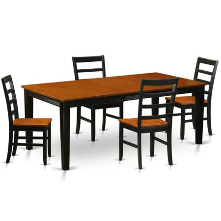Wood Seat Dining Room Set - Table with 4 Wooden Chairs, Black & Cherry - 5 Piece (Wooden Dining Room Table)