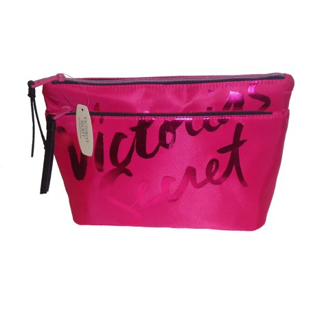Victoria's Secret Satin Double Zip Cosmetic Make-up Bag Hot Pink Gold