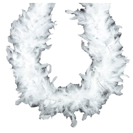 Chandelle Feather Boa White with Silver Lurex 45 gm 72 in 6 Ft - Boas In Bulk