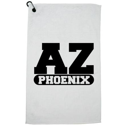Phoenix, Arizona AZ Classic City State Sign Golf Towel with Carabiner Clip ()