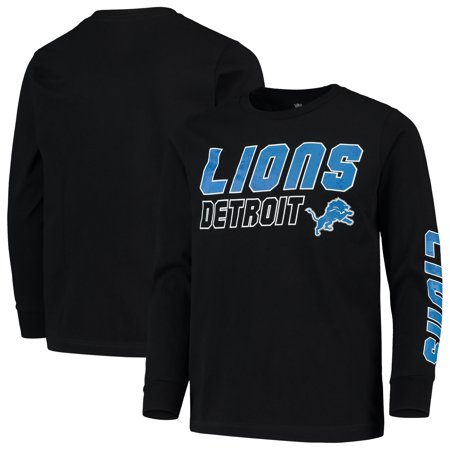Youth Black Detroit Lions Team Sleeve Hit Long Sleeve T-Shirt Detroit Lions Youth Uniform