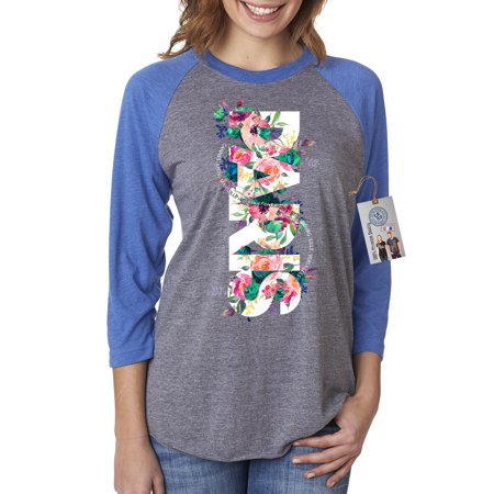Paris Floral Colorful Flowers Summer Womens 3/4 Raglan Sleeve Shirt Top