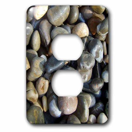 3dRose Shiny wet beach pebbles texture photo - Little stones Natural rocks nautical grey gray brown nature - 2 Plug Outlet Cover (Little Rock Outlet Mall)