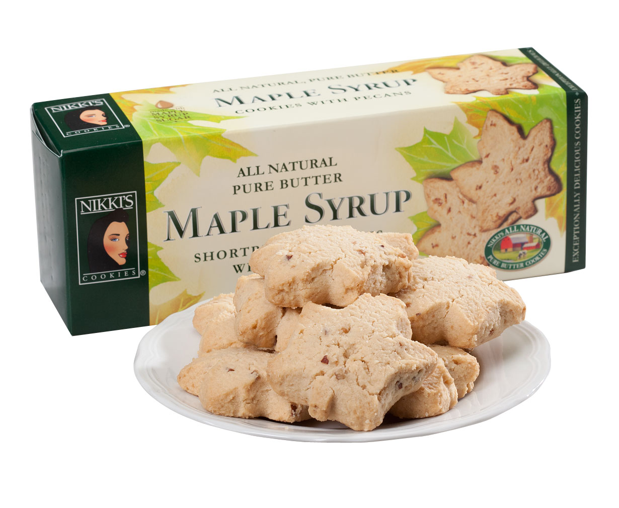 Miles Kimball Pure Butter Maple Syrup Shortbread Cookies with Pecans, 5.7 by