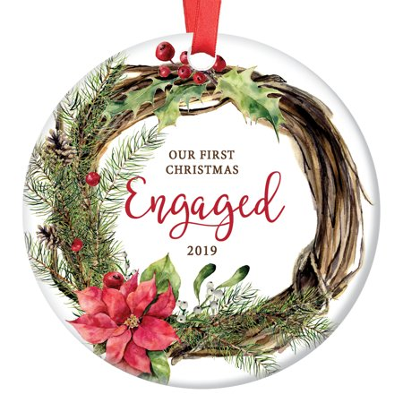 Our First Christmas Engaged Ornament 2019, Holiday Wreath Engagement Gift Porcelain Ornament, 3