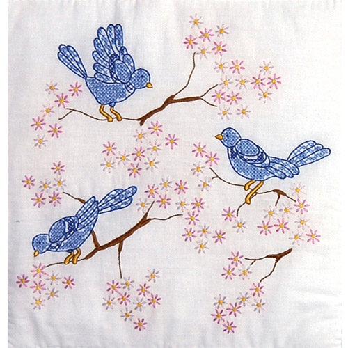 "Tobin Blue Birds Stamped White Quilt Blocks, 18"" x 18"""