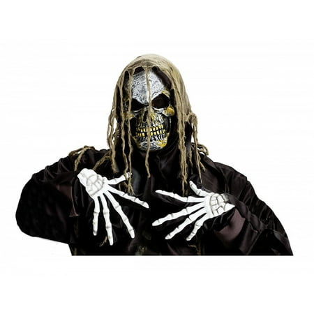 Zombie Skull Mask andamp; Gloves Adult Costume Accessory Set Shroud Skull (with White Skeleton Gloves) - Skeleton Halloween Mask