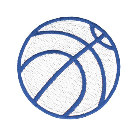 Basketball (White & Blue) Iron On Applique Patch