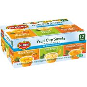 Del Monte No Sugar Added Assorted Flavors Fruit Cup Snacks, 12 count, 2.94 lbs