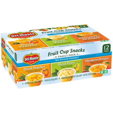 Del Monte No Sugar Added Assorted Flavors Fruit Cup Snacks  12 Count  2 94 Lbs