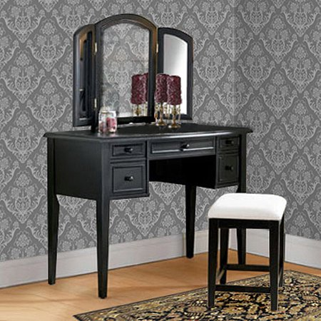 3-Piece Vanity, Mirror and Bench Set, Antique Black - 3-Piece Vanity, Mirror And Bench Set, Antique Black - Walmart.com