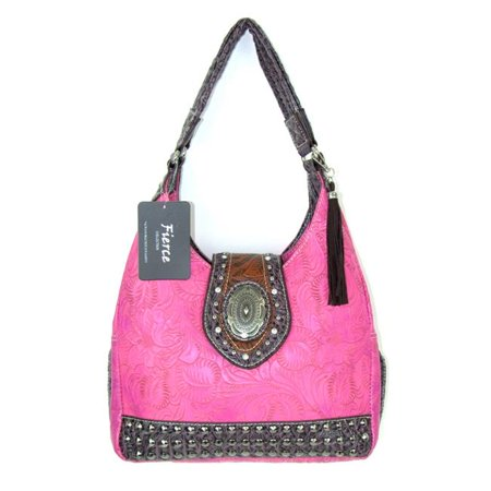 588da55b6189 Fierce TPC-680 HPK Ladies Faux Leather Tooled Hobo Handbag  44  Hot Pink -  Walmart.com