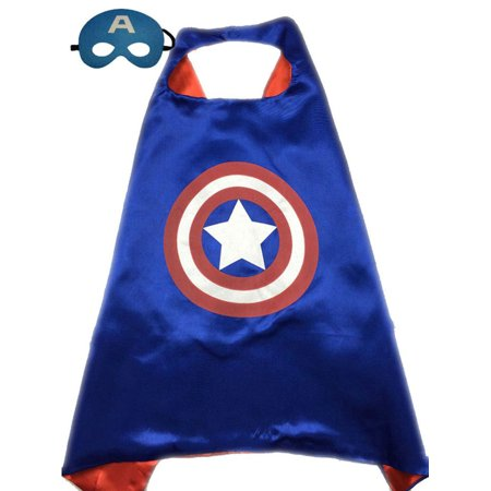 Superhero or Princess CAPE & MASK SET Kids Childrens Halloween Costume Cloak (Captain America Girl Mask)