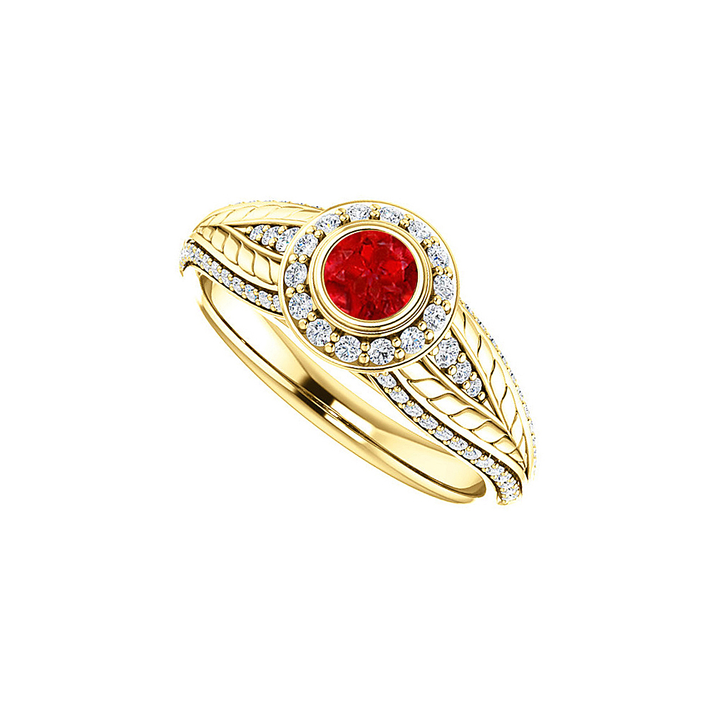 Ruby Bezel Set CZ Leaf Pattern Halo Ring 18K Vermeil - image 2 of 2
