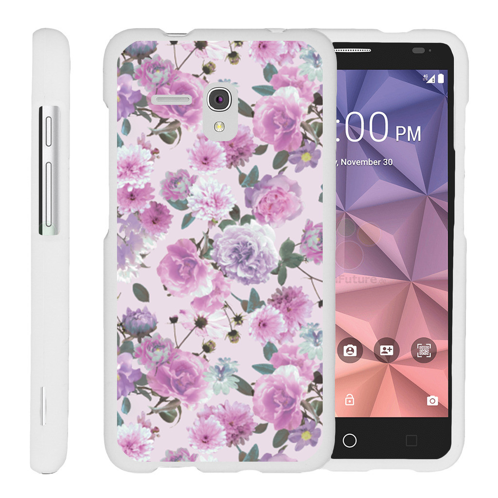 Alcatel One Touch Fierce XL 5054N, [SNAP SHELL][White] Hard White Plastic Case with Non Slip Matte Coating with Custom Designs - Pink Purple Flower