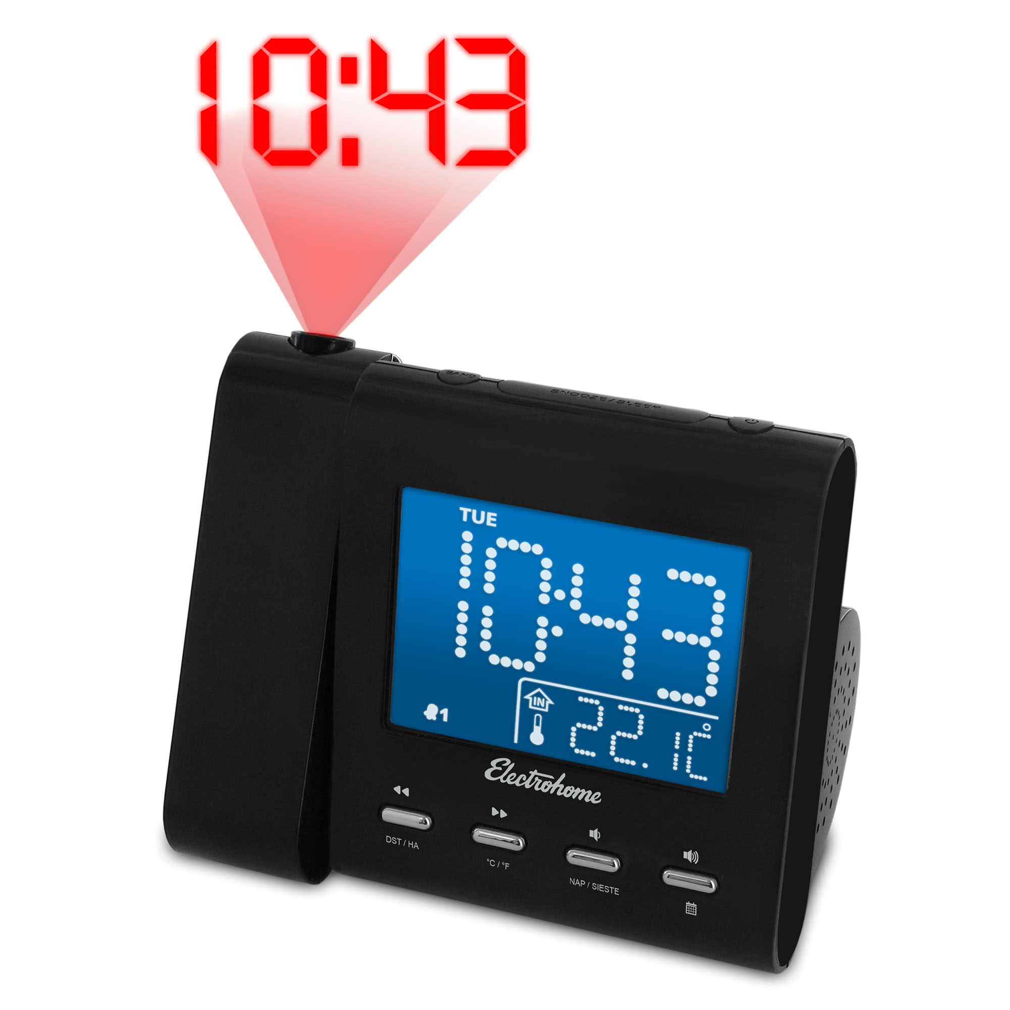 Electrohome Projection Alarm Clock with AM FM Radio, Battery Backup, Auto Time Set, Dual Alarm & 3.5mm Audio Input by ElectroHome