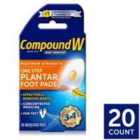 Compound W Maximum Strength One Step Plantar Wart Remover Foot Pads, 20 Count