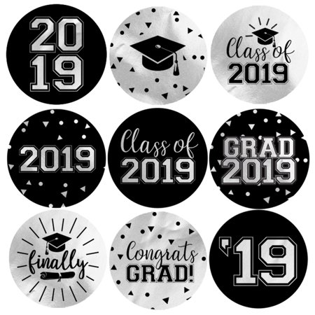 Silver Foil Graduation Party Stickers 198ct | Class of 2019 Favor Labels